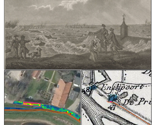 Beeld van de historische dijkdoorbraak