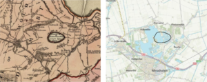 Het Huningameer aangegeven op de provinciekaart van Theodorus Beckeringh van 1781