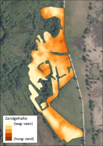 Het zandgehalte in het gebied van de Drentse Aa.
